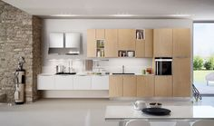 Furniture, Attractive Cabinet Set Ideas For Modern Interior Ideas: Modern  Raw Wood Colored Kitchen Cabinet Set For Modern Kitchen Design