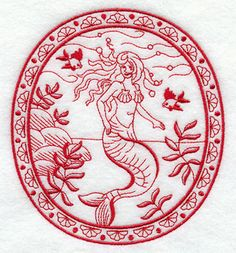 The Angel of the Sea (Redwork) design (C9873) from www.Emblibrary.com