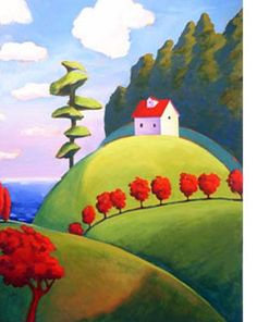 This type of painting is more like an illustration to me. Landscape Quilts, Landscape Art, Landscape Paintings, Landscape Illustration, Illustration Art, Art Populaire, Naive Art, Whimsical Art, Pottery Art