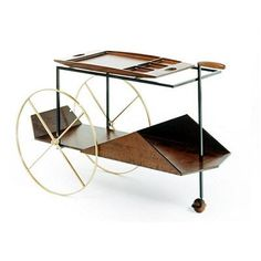 JORGE Tea Trolley by Jorge Zalzuspin produced by ETEL - click to enlarge Food Trolley, Bar Trolley, Kitchen Trolley, Drinks Trolley, Sushi Catering, Element Table, Kitchen Work Station, Metal Furniture, Cool Furniture