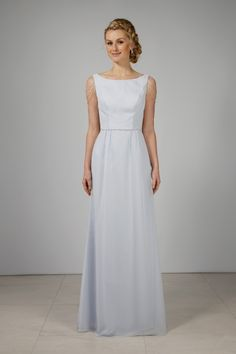A full length figure-flattering chiffon bridesmaid gown with fitted bodice and full length skirt with slight side gathering at. Designer Bridesmaid Dresses, Wedding Dresses, Full Length Skirts, Fitted Bodice, Chiffon, Flower Girl Dresses, Gowns, Bridal, Formal Dresses