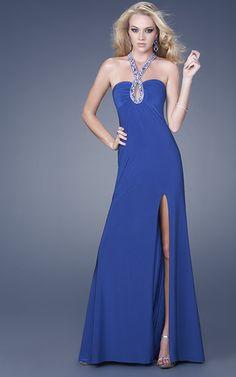 Royal Blue A-Line Cross Halter High Slit Sweep Train Floor Length Evening Dress With Sequins