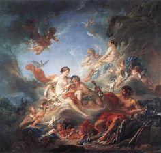 François Boucher - Venus and Vulcan. Tags: venus, afrodite, aphrodite, vulcan, hephaestus, hefaistos, olympians,