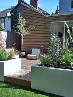jardin moderne avec terrasse en bois #Moderngarden