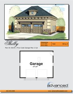 29235 Shelby The Shelby is a 2 car Mediterranean-style garage built on slab foundation. The garage doors are 9'x7'. advanced house plans