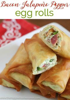Bacon Jalapeño Popper Egg Roll Recipe These are filling enough for dinner but perfect as an appetizer or finger food too!