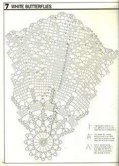 "Photo from album ""Decorative crochet"" on Yandex. Crochet Butterfly Pattern, Crochet Doily Diagram, Crochet Square Patterns, Crochet Circles, Filet Crochet, Crochet Motif, Crochet Doilies, Mantel Redondo A Crochet, Crochet Basket Tutorial"