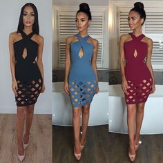 Women'S Lace Up Bandage Bodycon Evening Party Cocktail Short Mini Uk Dress S-Xl