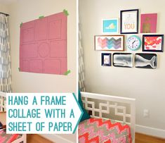 hang a frame collage with a sheet of paper - mark where the nails need to go, once it's on the wall hammer your nails in the marked spots, remove paper and hang!