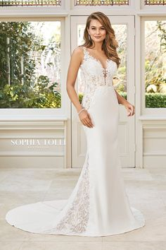 Sophia Tolli Rayna - Stretch crepe gown with a plunging deep-V neckline and daring semi-sheer lace bodice. Sexy sheer lace side skirt panels and low keyhole back Boho Wedding Dress, Wedding Bride, Bridal Dresses, Wedding Gowns, Prom Dresses, Bridal And Formal, Lace Bodice, Beaded Lace, Wedding Designs