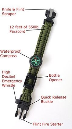 Off-Grid Gear - Survival Paracord Bracelet with Updated Waterproof Compass, Knife/Scraper tool, Flint & Bottle Opener - Super Strong Paracord - 4 Color Choices  SUPER STRONG: 12 feet of 550 pound test Paracord rope...(see example uses in description)  LIFE SAVING: Multifuntional with Waterproof Compass, Fire Starter, Knife, Whistle, Bottle Opener  SMART INSURANCE PLAN with a 100% LIFETIME MONEY BACK GUARANTEE  TACTICAL & PRACTICAL: Clip it to your Go-Bag, Molle Gear, 4 colors (full length 10…