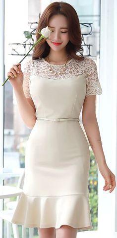 StyleOnme_Mermaid Silhouette Floral Lace Dress #beige #dress #floral #lace #koreanfashion #kstyle #kfashion #seoul #feminine #datelook