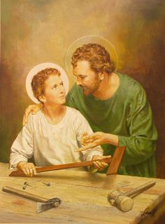 Our men need to stand up and be fathers as Joseph was to our Lord Jesus Christ. Catholic Art, Catholic Saints, Religious Art, Pictures Of Jesus Christ, Religious Pictures, Jesus Jose Y Maria, Jesus Childhood, Jesus Father, Christian Images