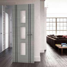 Bespoke Door - Flush Dark Grey Inlay - American Light Grey Ash Veneer.    #contemporarydoor #moderndoor