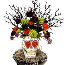 Paper Mache Sugar Skull Arrangement #halloween #craft