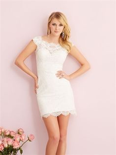 We have the perfect destination and reception dress for you — a lace mini dress with sheer cap sleeves.