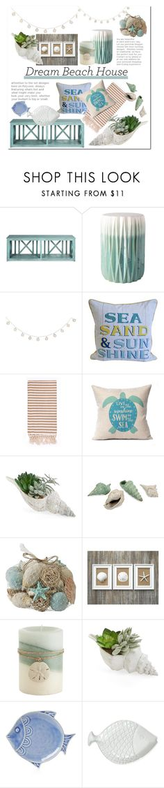 """""""Beach Dream House: Sea Shells"""" by mandiek-2 ❤ liked on Polyvore featuring interior, interiors, interior design, home, home decor, interior decorating, Surya, Turkish-T, Allstate Floral and Pier 1 Imports"""
