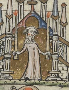 Detail of a lady, from the St Omer Book of Hours, France, c1320, Add MS 36684 , f.3v... - See more at: http://britishlibrary.typepad.co.uk/digitisedmanuscripts/2015/12/medieval-star-wars.html#sthash.aLJLXeAx.dpuf