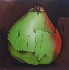 """Silvia Pinto Souza """"Green Pear"""" Acrylic paint and collage on canvas 24"""" x 24"""""""