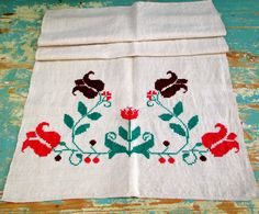 600. European flax linen decor towel, vintage organic linen towel, handloomed pure flax linen towel, homespun hand embroidered towel Hungarian Embroidery, Embroidered Towels, Linen Towels, I Shop, Organic, Rustic, Pure Products, Quilts, Blanket