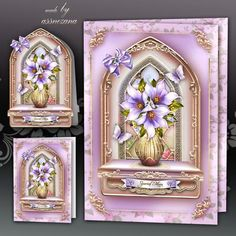 Violet Window Card Kit on Craftsuprint designed by Atlic Snezana - Violet Window Card Kit: 4 sheets for print with decoupage for 3D effect plus few sentiment tags (for your own personal text) - Now available for download!