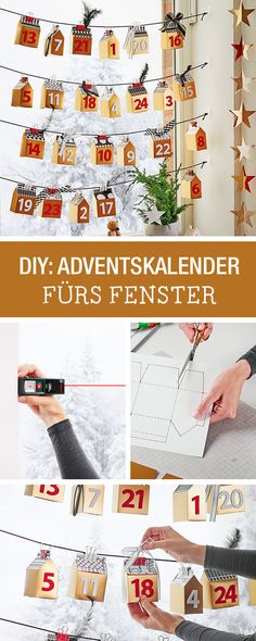 Süßer Adventskalender fürs Fenster: Hol Dir die Anleitung hier / cute advents calendar made of paper boxes for the window via DaWanda.com
