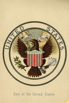 Bookplate of the United States Seal Description: States, 'Seal of the United States;' depicts the Great seal with the American bald Eagle displaying a shield, clutching an olive branch in his talon, and thirteen arrows in his other talon, and in his beak is a scroll with the motto 'E Pluribus Unum.' Unsigned.     Format: 1 print, col., 18 x 12 cm.     Source: Pratt Institute Libraries, Special Collections 81a (sc00657)