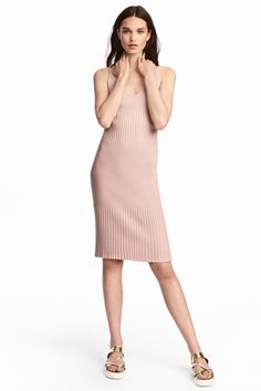 Ribbed dress - Powder pink - Ladies | H&M GB