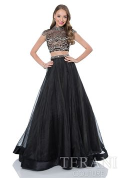 57468aad76 Two piece prom gown with jeweled neckline crop top encrusted with crystals.  This prom dress