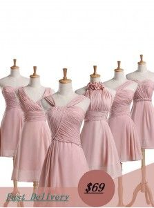 Simple-dress 2015 Best Selling Short Blush Coral Chiffon Bridesmaid Dresses under 100 CHBD-70810
