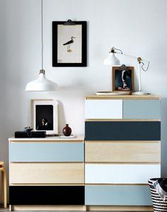 Älskar det här! En bra, praktisk och väldigt prisvärd möbel som är ganska uttjatad kan helt plötsligt bli personlig och lite unik med bara lite färg. Ikea.