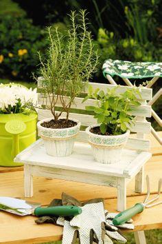 Floreira de découpage em forma de banquinho / DIY, craft