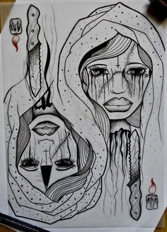 #draw #drawing #heart #nuns #models #drawings #flash #flashart #flowers #tattoos #art #ink #inked #tattooflash #rose #flash #blood #moon #pentagram #candles #nun #knife #hands #tringle #eyes