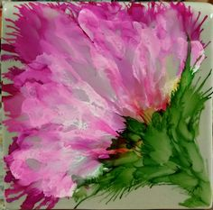 Sage green 4x4 tile with raspberry and white alcohol ink by tina