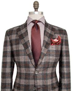 Kiton Grey Paid with Rust Windowpane Sportcoat 2 button jacket Notch…