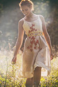 SALE 15% Linen beige dress with beads by AtelierDeCoutureJK