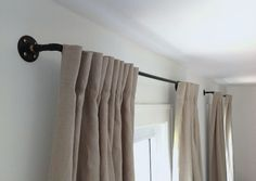 Izabella DIY Curtain Rod I Remodelista  ANOTHER pipe and plumbing fan, I see!