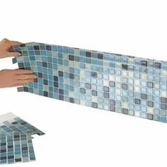 """Our easy-to-use mosaic tile backsplash offers all of the benefits of a traditional porcelain tile, but with none of the mess, headaches or tedious installation. Just peel and stick these 10"""" x 10"""" squares on any clean wall surface for a super stylish, seamless finished product that is both beautiful and functional. DIY décor has never been so easy. Our set of six square sheets will allow you to update your home with modern, neutral colors that will complement any space. Easy Backsplash, Beadboard Backsplash, Herringbone Backsplash, Mosaic Backsplash, Kitchen Backsplash, Peel And Stick Tile, Stick On Tiles, Fixer Upper, Cleaning Walls"""