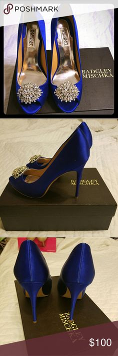 Badgley Mischka blue high heeled shoes size 8 Badgley Mischka blue high heeled shoes size 8.  Worn once for wedding.  Excellent condition, like new Badgley Mischka Shoes Heels