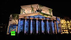 Russia's most famous Bolshoi Theatre glowing and sparkling with various colors and types of light, projections during the fourth International 'Circle of Lig...