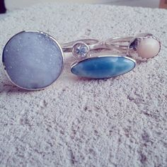 Lost & Found. Blue stones.  All these stones are rescued from jewellery that was melted down from the metal.