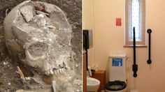 Parishioners are forced to wait for their new church toilet after skeletons dating from as far back as the Anglo-Saxon era are unexpectedly unearthed.