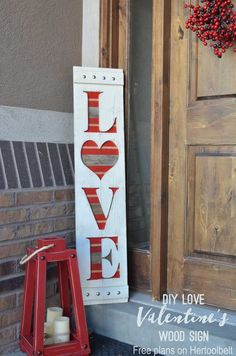 DIY big LOVE wood sign for Valentine's or wedding decor. Free plans and tutorial.