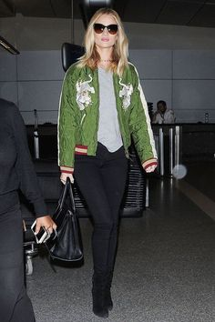 In Our Dreams, We're Rosie Huntington-Whiteley At The Airport #refinery29  http://www.refinery29.com/2016/04/108582/rosie-huntington-whiteley-outfit-photos-lookbook#slide-16  What would happen if that jacket and that bag were to mysteriously disappear at the baggage claim?...