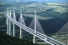 Millau Bridge (Tarn Valley, France)  Millau Bridge is the largest cable-stayed vehicular bridge in the world!