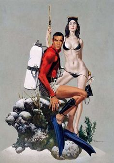 Robert McGinnis illustrated the James Bond 007 films Thunderball, You Only Live Twice, Diamonds Are Forever, and Live and Let Die