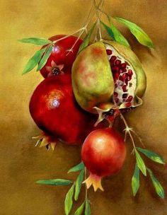 Susan R. Watercolor Fruit, Fruit Painting, Watercolor Landscape, Watercolor Flowers, Nature Illustration, Botanical Illustration, Pomegranate Art, Vegetable Painting, Peacock Painting