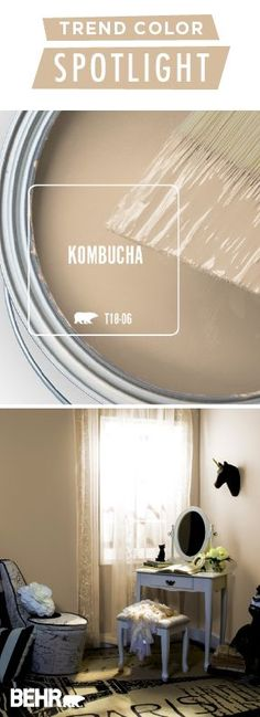 Kombucha isn't just a trendy drink! This light beige color from BEHR® Paint m… Kombucha is not just a trendy drink! This light beige color from BEHR® Paint is a welcome addition to your walls. Refresh your home decor with… Continue Reading → Exterior Paint Colors For House, Interior Paint Colors, Paint Colors For Home, House Colors, Paint Colours, Interior Design, Bher Paint Colors, Kombucha, Spot Lights