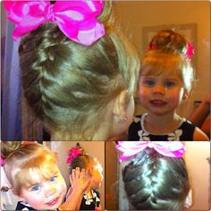 My gorgeous niece... So sophisticated and polished! A braid , messy bun and all tide up with a girly bow!! Cutest hairstyle for a Lil girl.