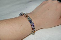 Rainbow aluminium chainmaille bracelet- gay pride?